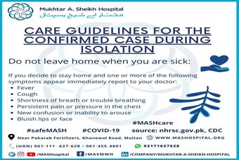 Care guidelines for the confirmed case during isolation.