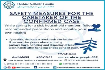 Safety measures for the caretaker of the confirmed case.